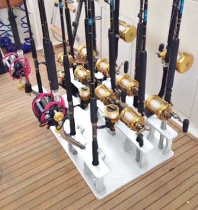 Big Game Fishing Rod Organizer For Curved Butt Rods And