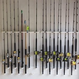 Vertical Wall Mount Rod Holder For 10 Conventional reels or Spinning Reels