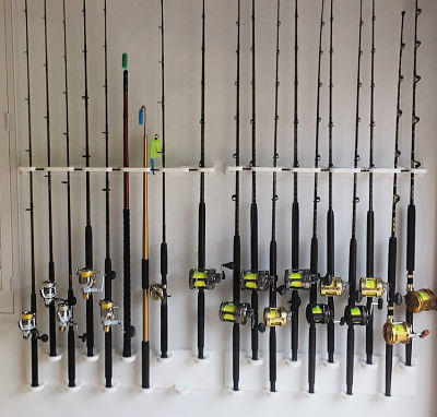 wall mount for 10 rods and reels