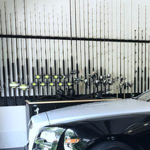 Vertical Wall Mount For 10 Rods & Reels With Varied Heights For Maximum Space